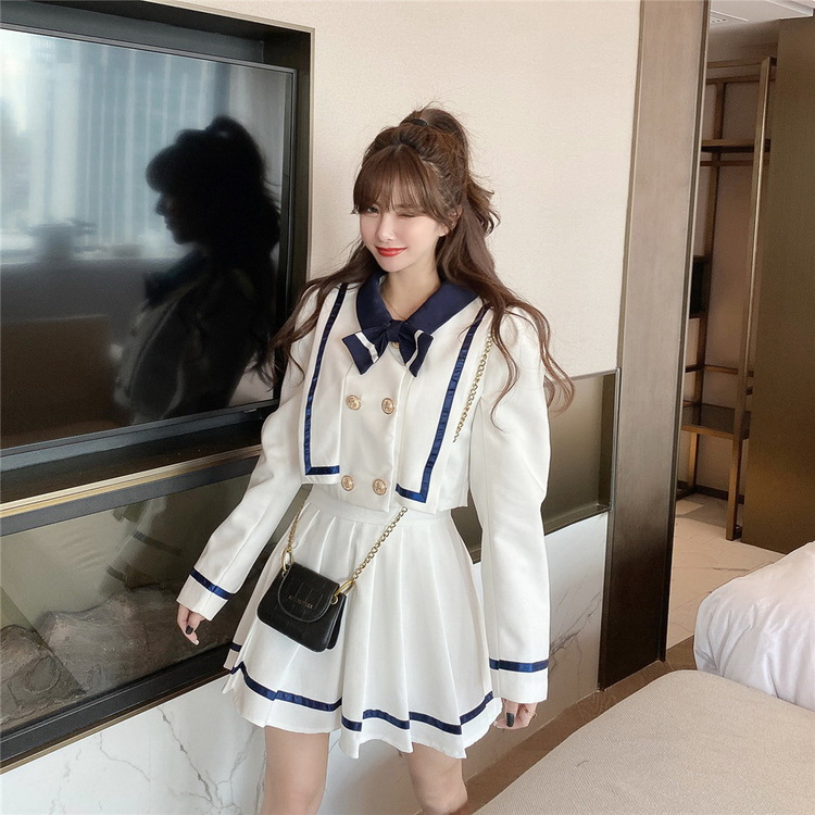 VIVILIAN海軍風俏皮減齡蝴蝶結外套+高腰百褶顯瘦半身裙SET組