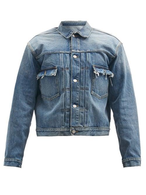 Maison Margiela - Frayed Cropped Denim Jacket - Mens - Blue