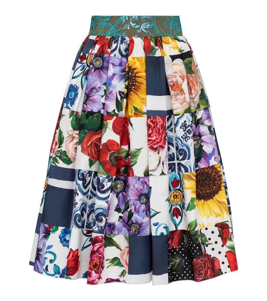 Patchwork cotton-blend midi skirt