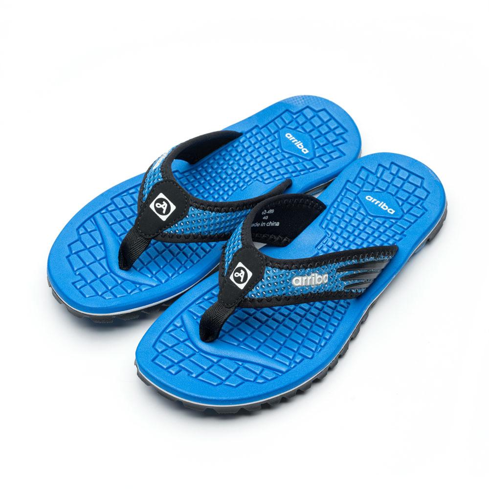 ARRIBA艾樂跑男女鞋-異材質防滑夾腳拖鞋-綠/藍(62489)