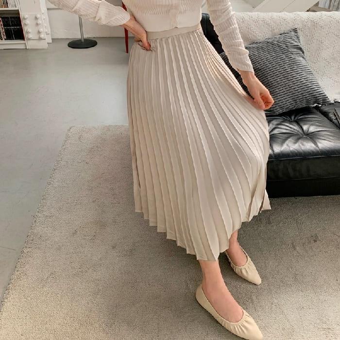 韓國製.優雅質感緞面百摺蛋糕彈性高腰長裙.白鳥麗子