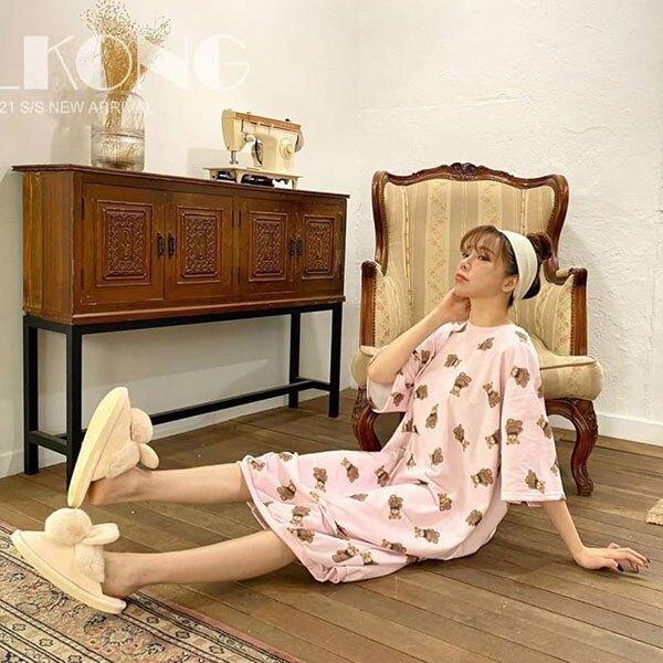 ANNAS 正韓熊熊居家服睡衣洋裝連身裙 長洋裝懶人裙短袖純棉可愛卡通韓國alkong代購