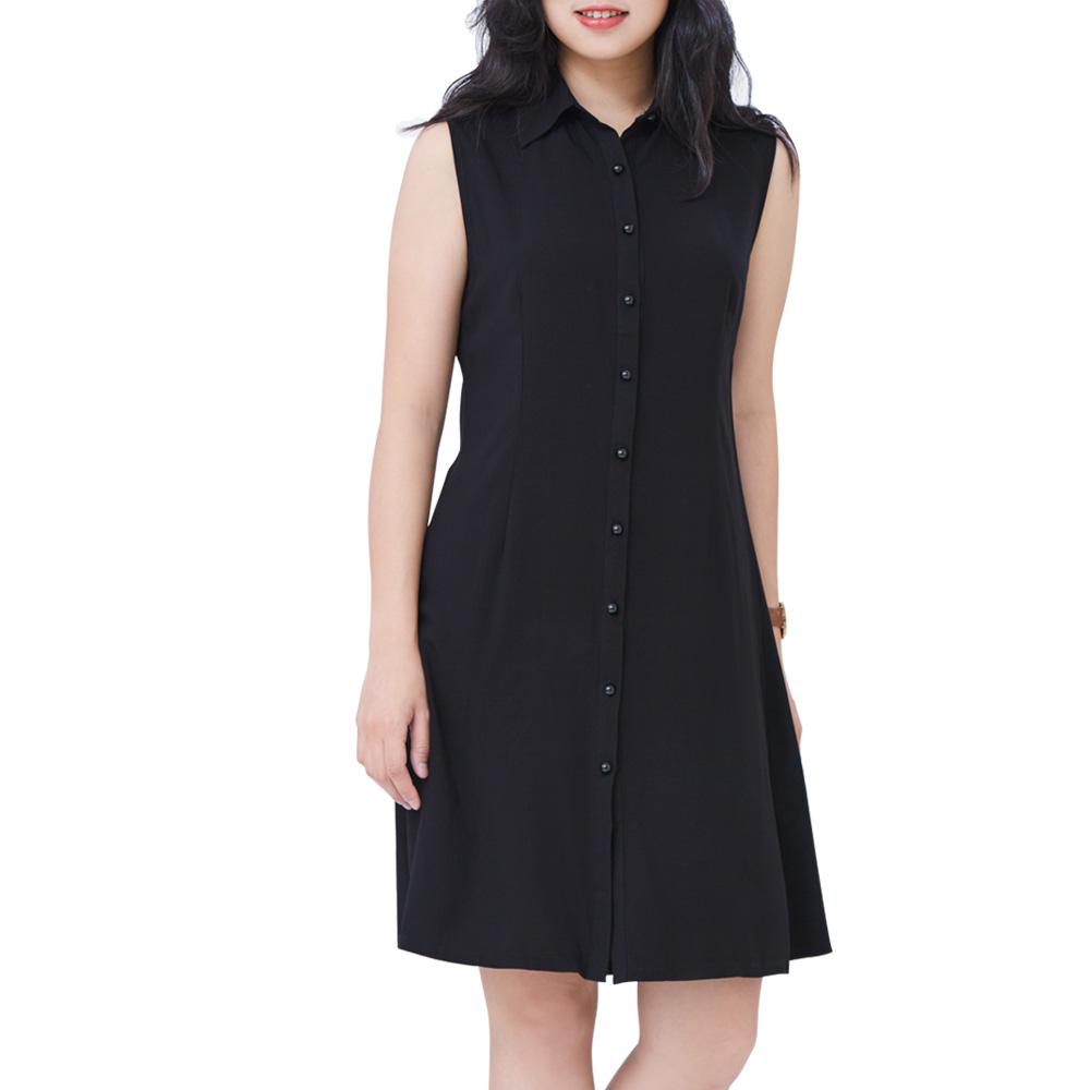 Jumase無袖襯衫 棉綢 小洋裝一 經典黑 (Z18046815)短袖