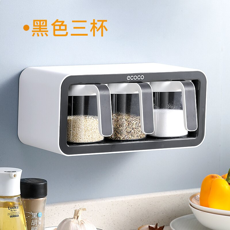調味瓶 廚房調料置物架鹽味精調料盒壁掛調料盒套裝家用多格調味料收納盒『XY12575』