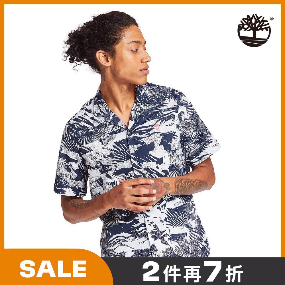Timberland 男款深寶石藍夏日森林府綢短袖襯衫|A2BBDAE8