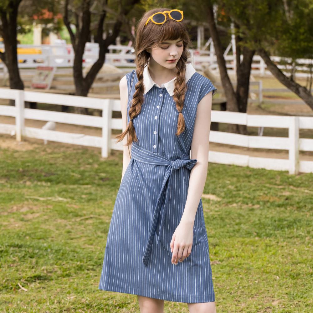 niceioi氣質條紋造型綁帶無袖洋裝