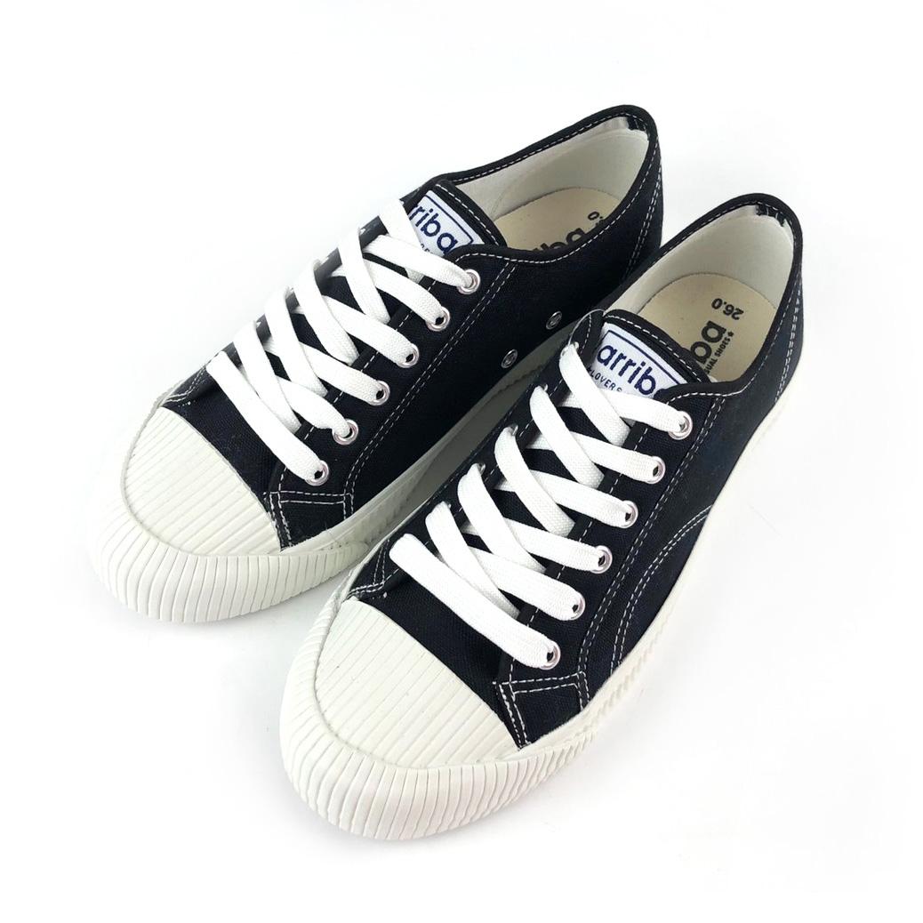 ARRIBA艾樂跑男鞋-綁帶餅乾帆布鞋 休閒鞋-黑/白(AB8070)