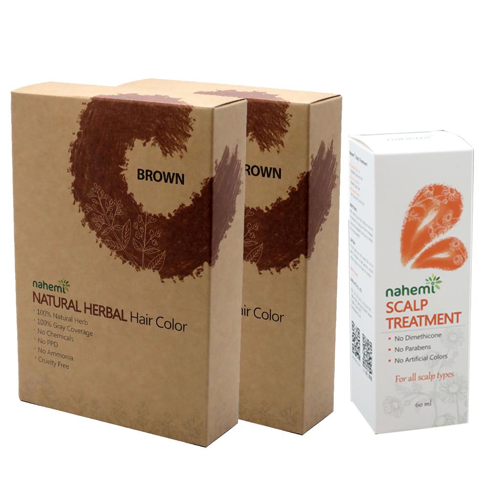 娜禾蜜 草本增色護髮粉|可可棕x2+頭皮調理精華液x1