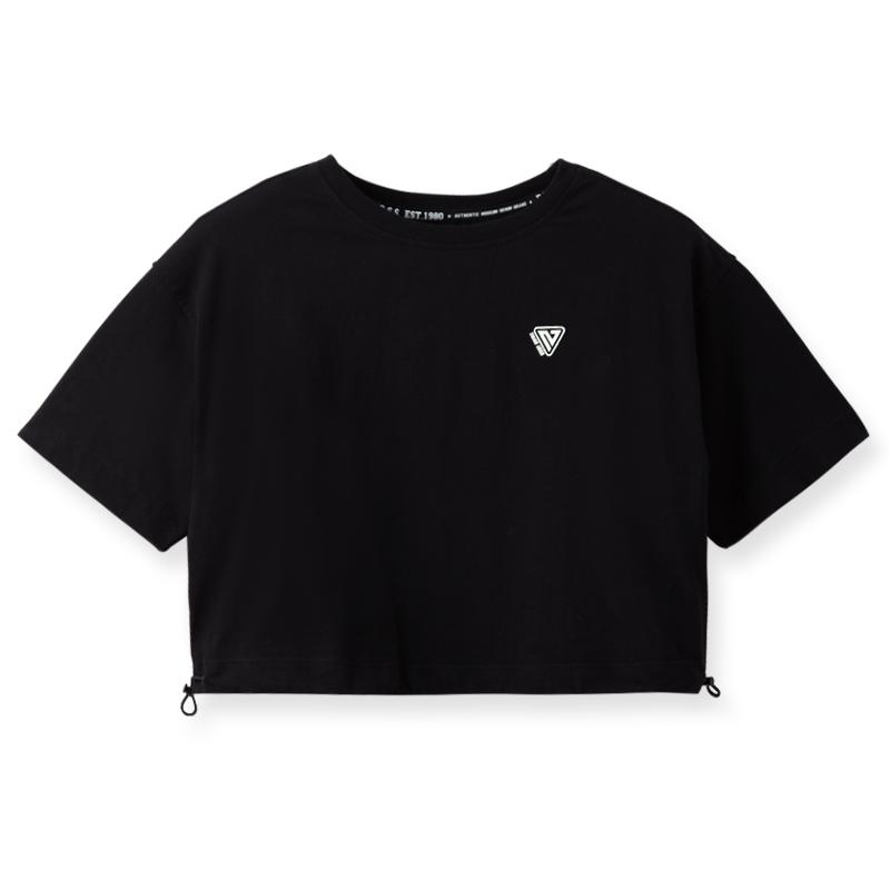 短版下襬抽繩圓領印花純棉T恤(黑)-女