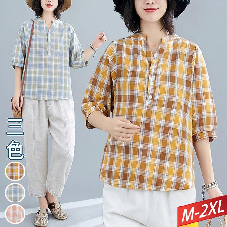開V領釦子撞色格紋上衣(3色) M~2XL【214096W】【現+預】-流行前線-