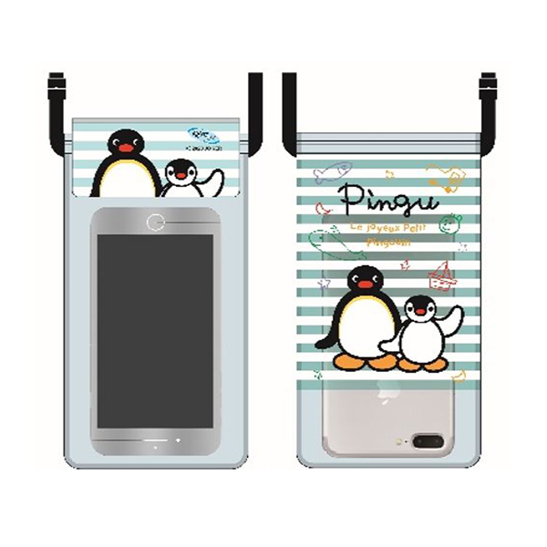 《企鵝家族Pingu》防水手機袋-條紋