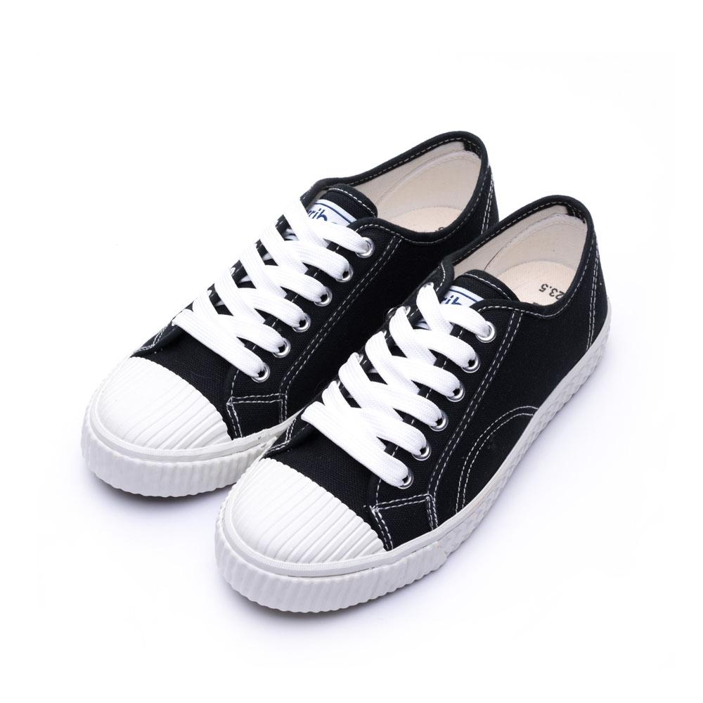 ARRIBA艾樂跑女鞋-綁帶餅乾鞋 帆布鞋-黑/白(AB8068)