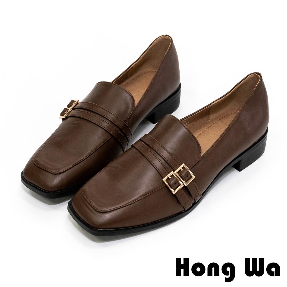 Hong Wa 復古優雅‧金屬飾扣牛紋皮低跟方頭鞋 - 深咖
