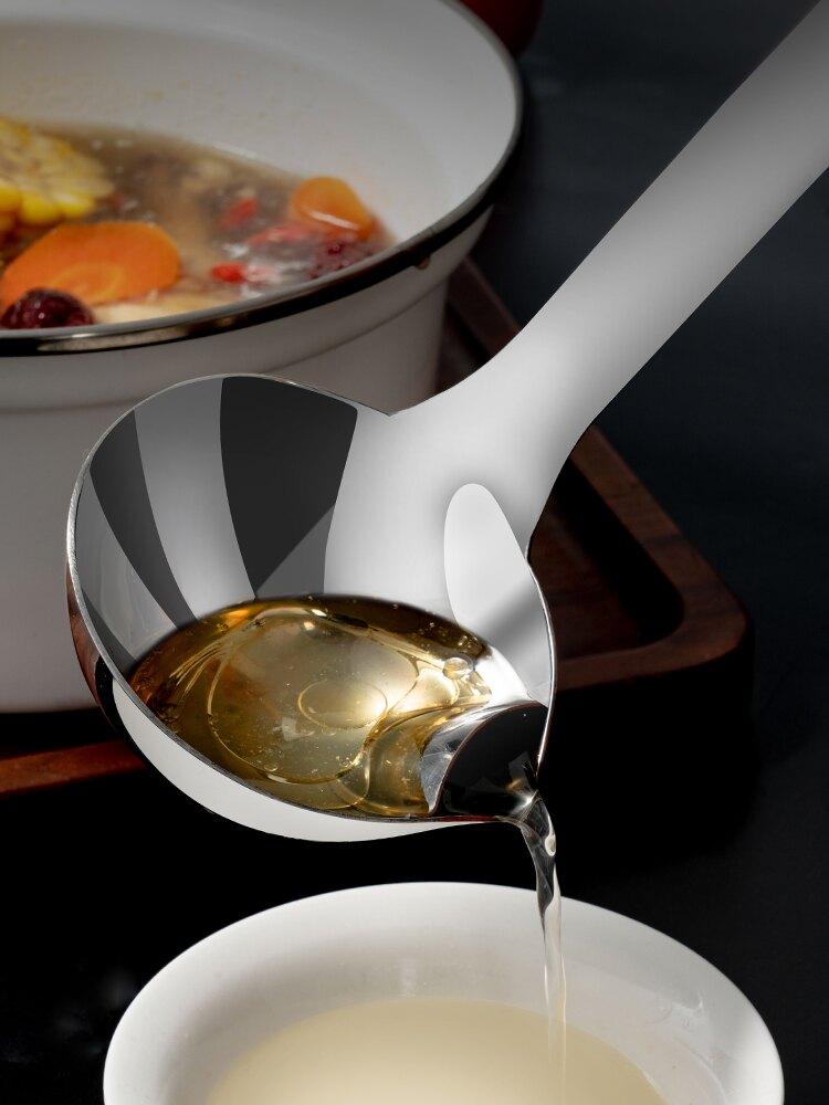 濾油勺 廚房過濾油湯勺304不銹鋼大湯勺 油湯分離器濾油神器去油控油漏勺『XY12036』