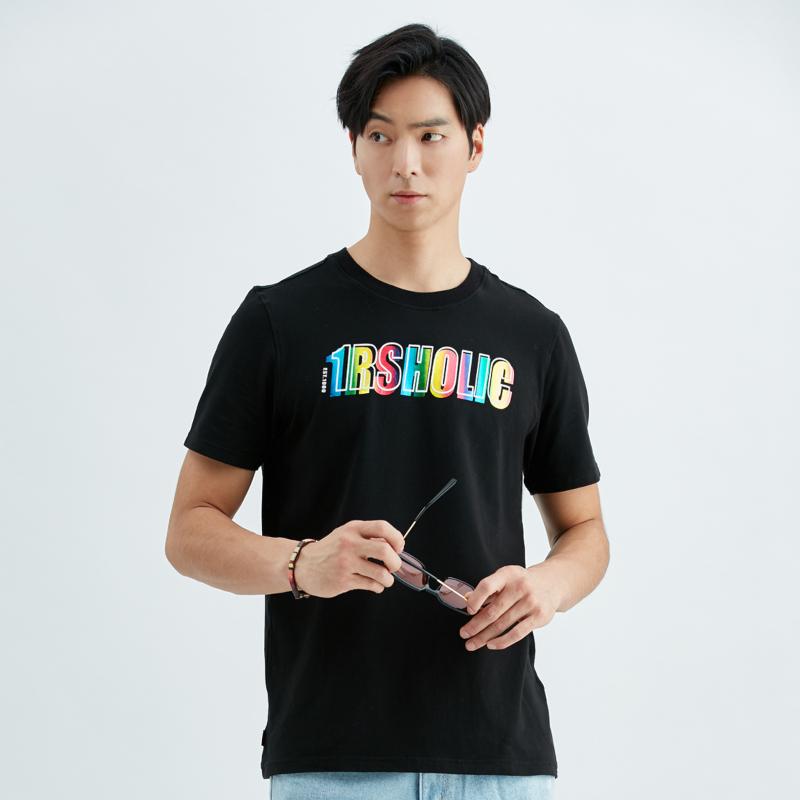 彈性舒適時髦彩箔T恤(黑)-男