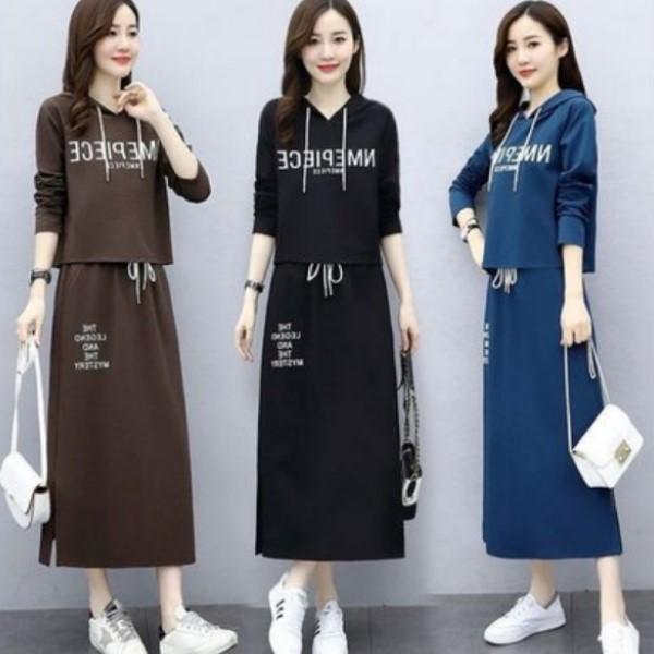 M-3XL韓版美式休閒風兩件式套裝(OL氣質字母短版連帽長袖上衣+字母及膝裙)(3色)中大尺碼-凱西娃娃