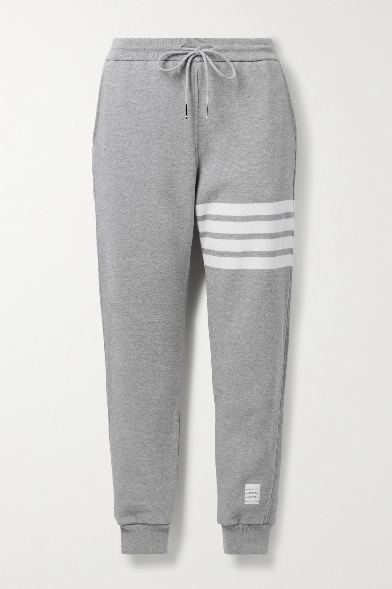 THOM BROWNE - Striped Mélange Cotton-jersey Track Pants - Gray - IT42