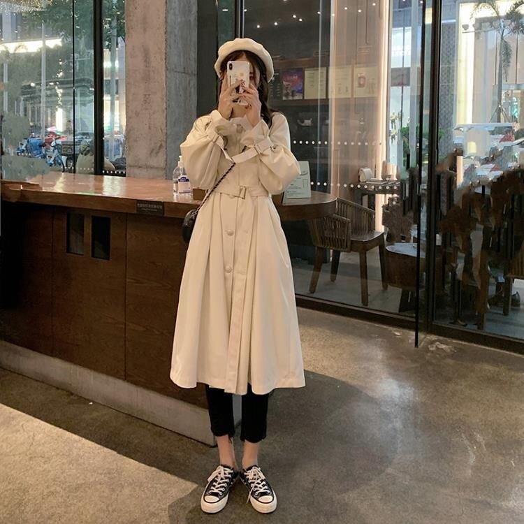 秋季韓版2020新款收腰顯瘦中長款小個子流行氣質長袖風衣外套女裝