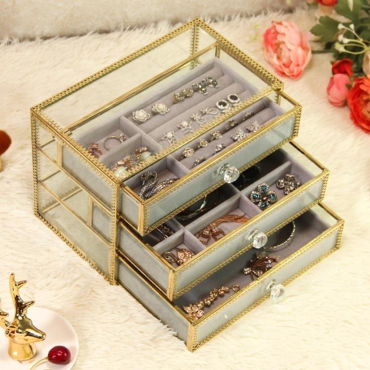 珠寶盒 歐式玻璃首飾盒抽屜式首飾收納盒公主飾品耳釘戒指項鏈收納盒整理 尾牙 時尚學院