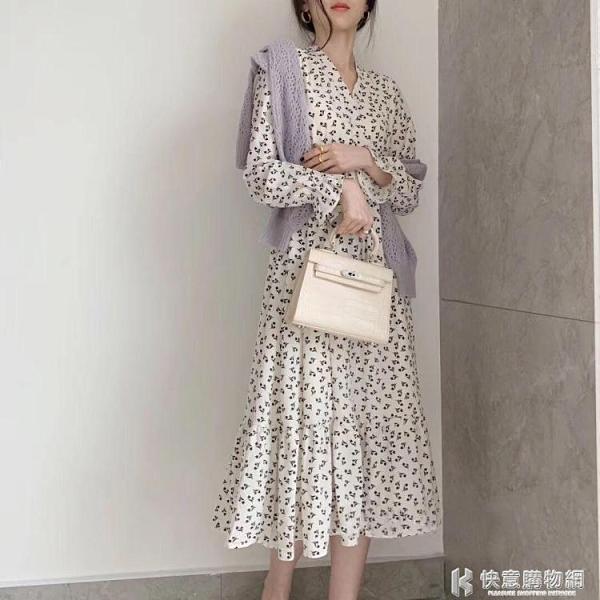 輕熟風小白裙遮腹洋裝洋氣長裙法式桔梗復古秋高腰赫本風碎花裙 快意購物網