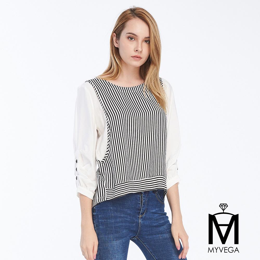 【麥雪爾】MA黑白條紋假兩件七分袖上衣
