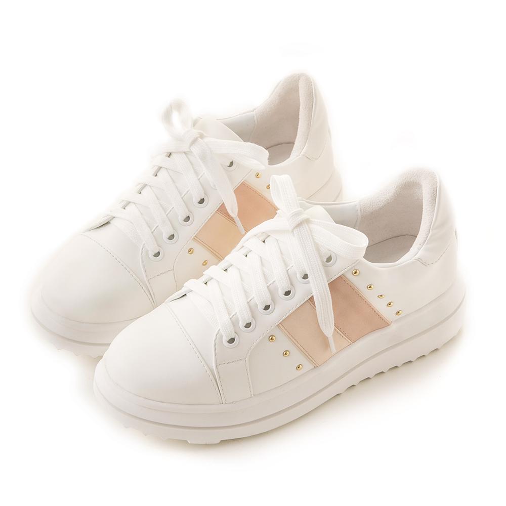 【預購03/29出貨】《做妳自己》鉚釘撞色厚底休閒鞋 粉 G2497PN