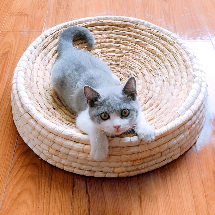 新店五折 大號碗形貓抓板大貓窩編織耐磨貓玩具用品藤窩柳編貓碗磨爪貓抓盒
