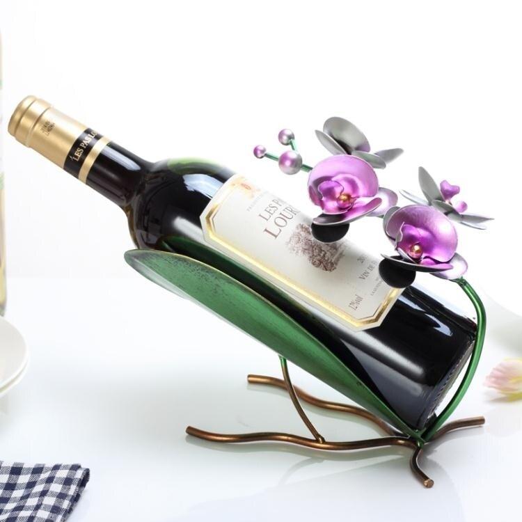 歐式創意紅酒架擺件現代簡約個性葡萄酒瓶架酒櫃裝飾品擺件 AT
