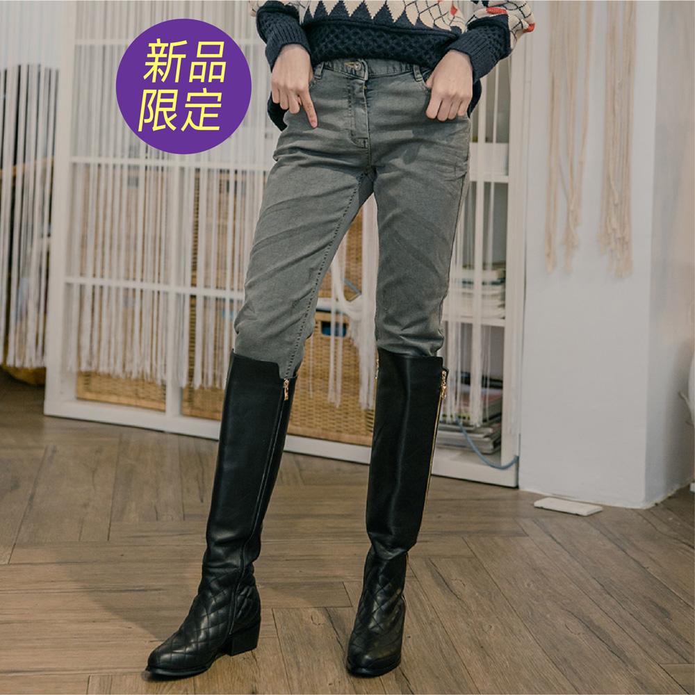 修身質感彈力窄管牛仔褲-灰色