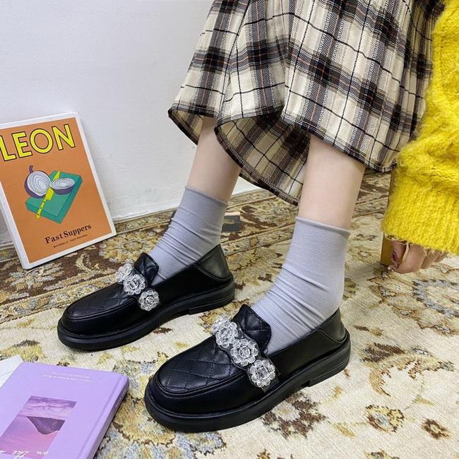 FOFU-甜美可愛小香風花朵方跟中跟瑪麗珍鞋【02S13444】