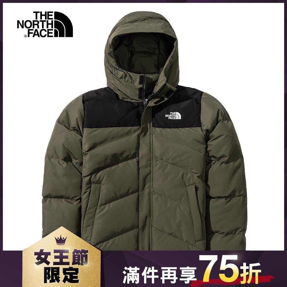 The North Face北面男款綠色防風防潑水連帽羽絨外套|4NEN21L