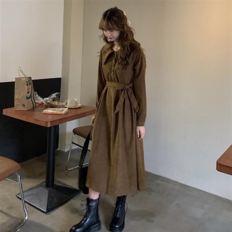 2020年秋季新款小個子寬鬆百搭長袖洋裝潮ins中長款法式裙子女