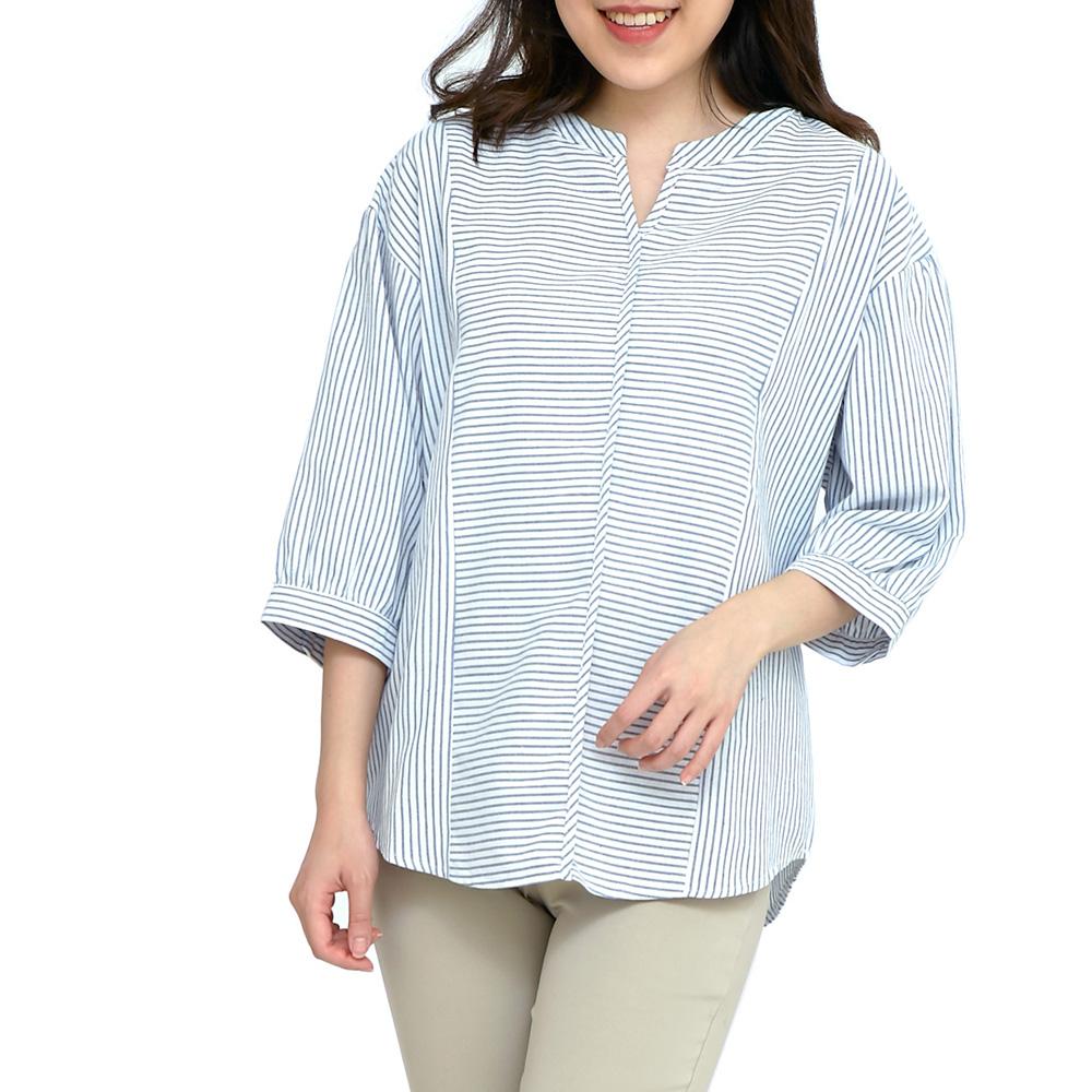 Jumase棉麻 細紋拼接小V領上衣一淺藍 中大尺碼 (D1803201826)七分袖