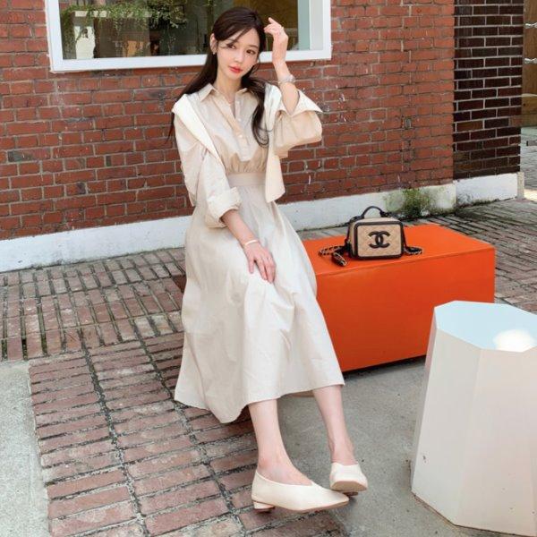 韓國製.街頭時尚收腰百褶翻領排扣修身洋裝.白鳥麗子