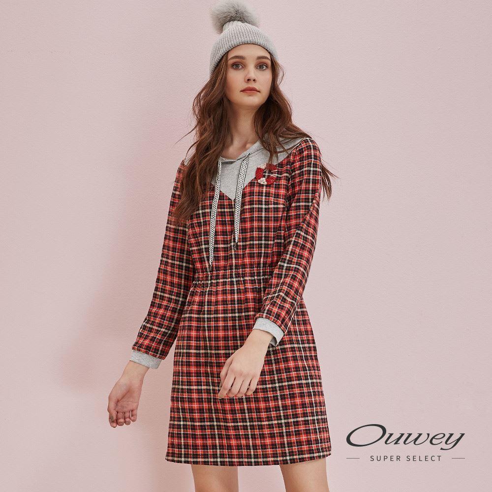OUWEY歐薇 經典格紋跳色連帽抽繩洋裝(桔)H56750