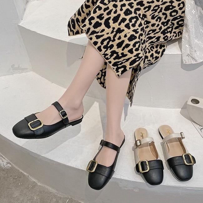 FOFU-時尚拼接扣帶粗跟低跟瑪麗珍鞋【02S13533】