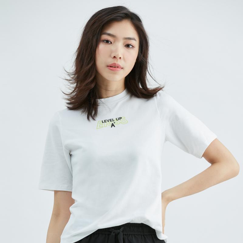 小高領合身T恤(白)-女