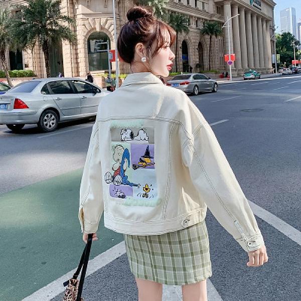 牛仔外套短款開衫S-XL春秋款寬松短款外套印花卡通圖案學生夾克上衣女F139紅粉佳人