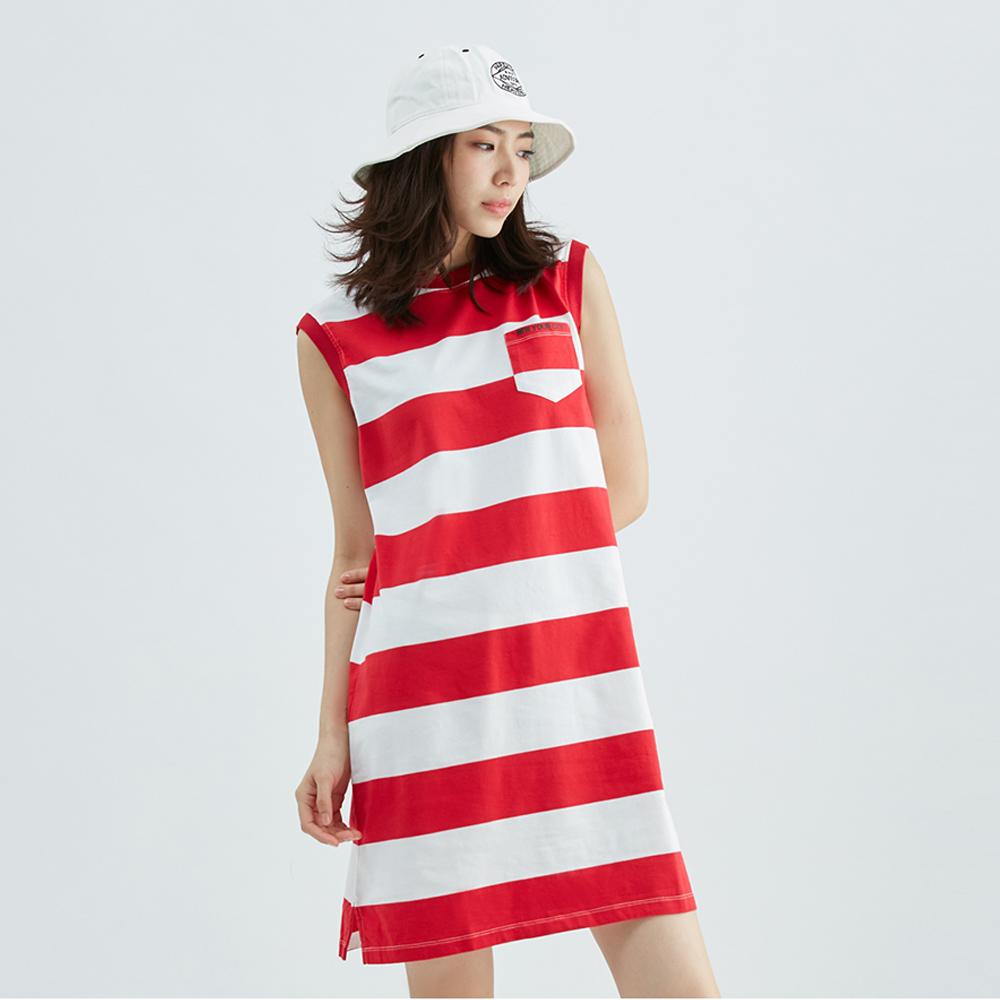 條紋純棉背心洋裝(紅)-女