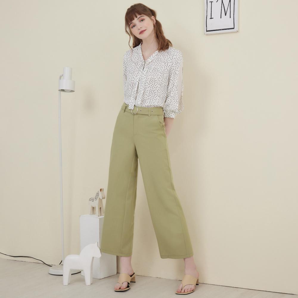 niceioi都會質感腰帶造型寬褲