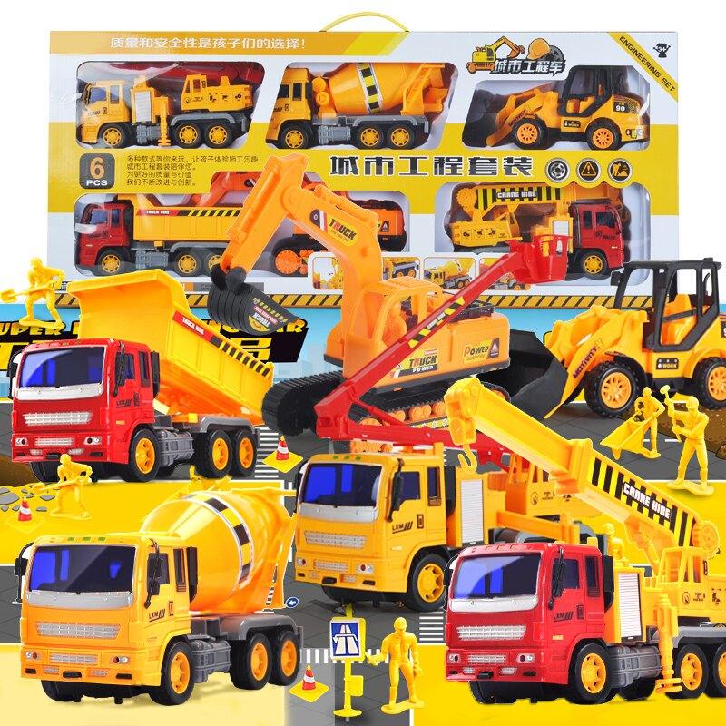 大號工程車挖土機攪拌消防汽車挖掘機小孩玩具套裝男孩兒童各類車
