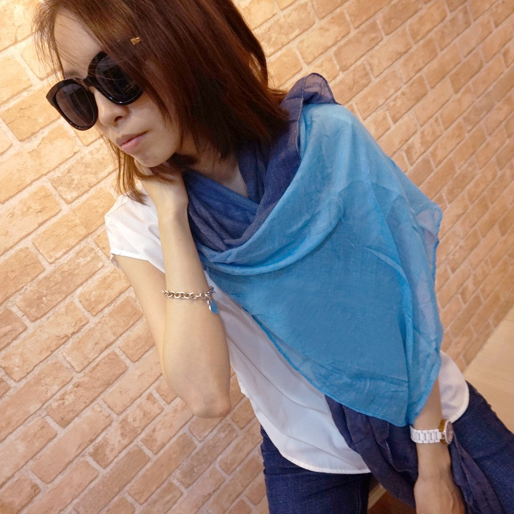 【Lus.G】渲染漸層色麻紗圍巾-共12色