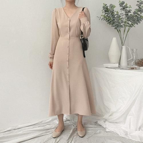 韓國空運 - V領抓皺腰綁帶排釦長洋裝