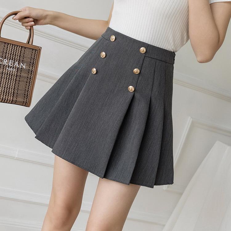 VIVILIAN日系減齡少女風高腰顯瘦A字西裝百褶短裙