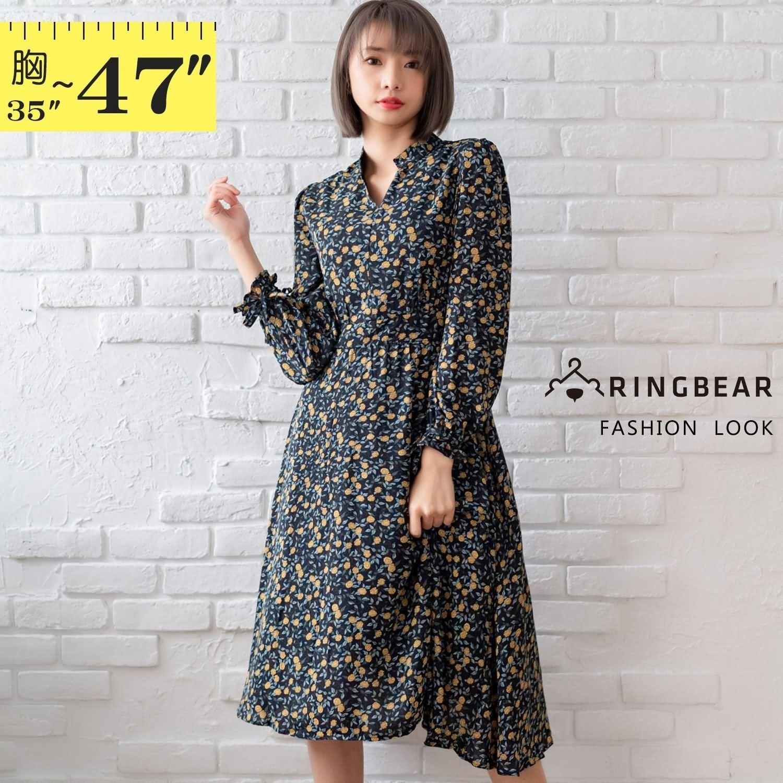 連身裙--Y字立領袖口綁帶收腰滿版碎花連身長袖過膝長洋裝(藍L-3L)-A416眼圈熊中大尺碼