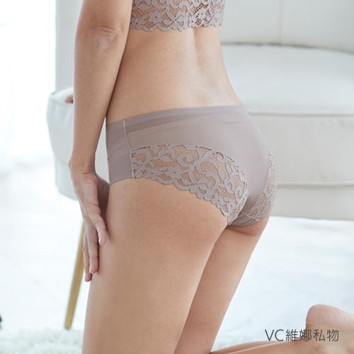 無痕內褲天使蕾絲透膚網紗款-大蕾絲(卡其) VC維娜私物 *任選3件499元*36006P