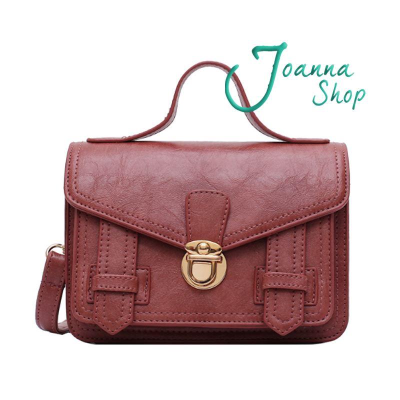 小資女新款金屬扣郵差手提質感百搭時尚學院斜背包4-Joanna Shop