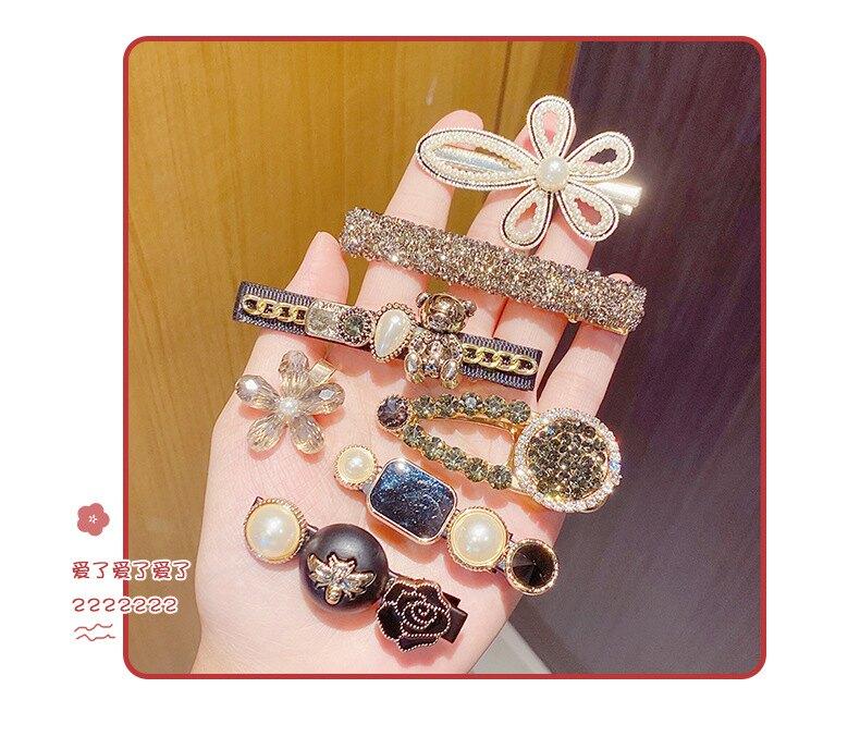 韓版水晶珍珠瀏海夾套裝組