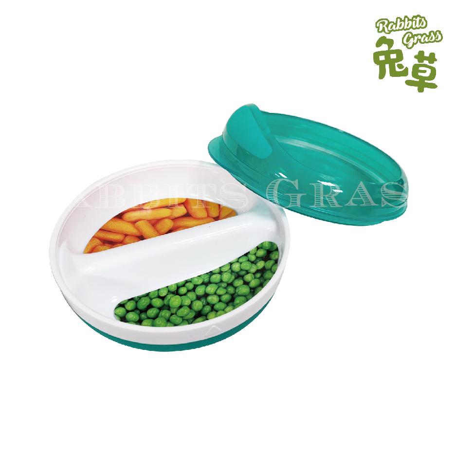 OXO TOT 副食品分隔碗 兩格 防滑 124g : 靚藍綠