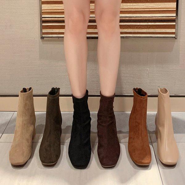 襪靴.質感百搭方頭拼接後拉鍊粗跟短靴.白鳥麗子